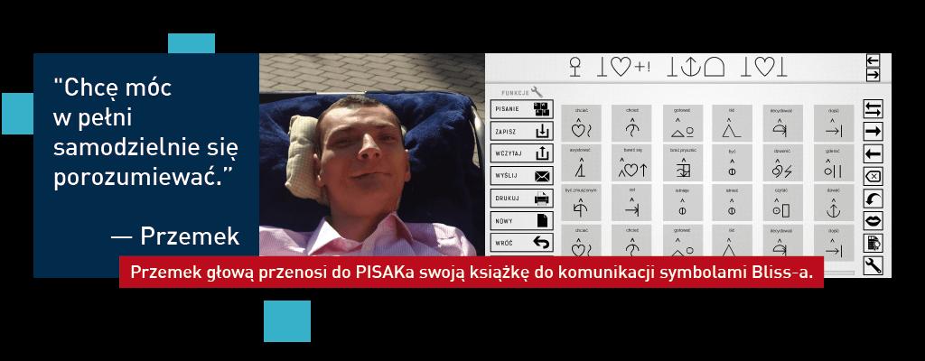 Chcę móc w pełni samodzielnie się porozumiewać - Przemek głową przenosi do PISAKa swoją książkę do komunikacji symbolami Bliss-a
