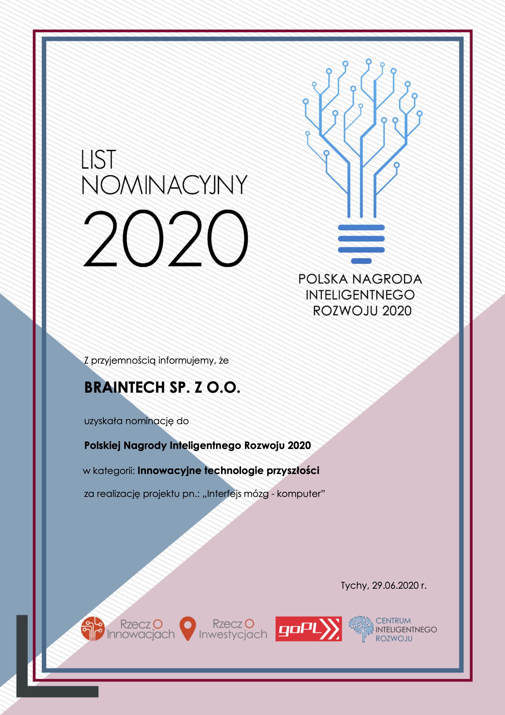 PNIR2020 - List Nominacyjny - Braintech